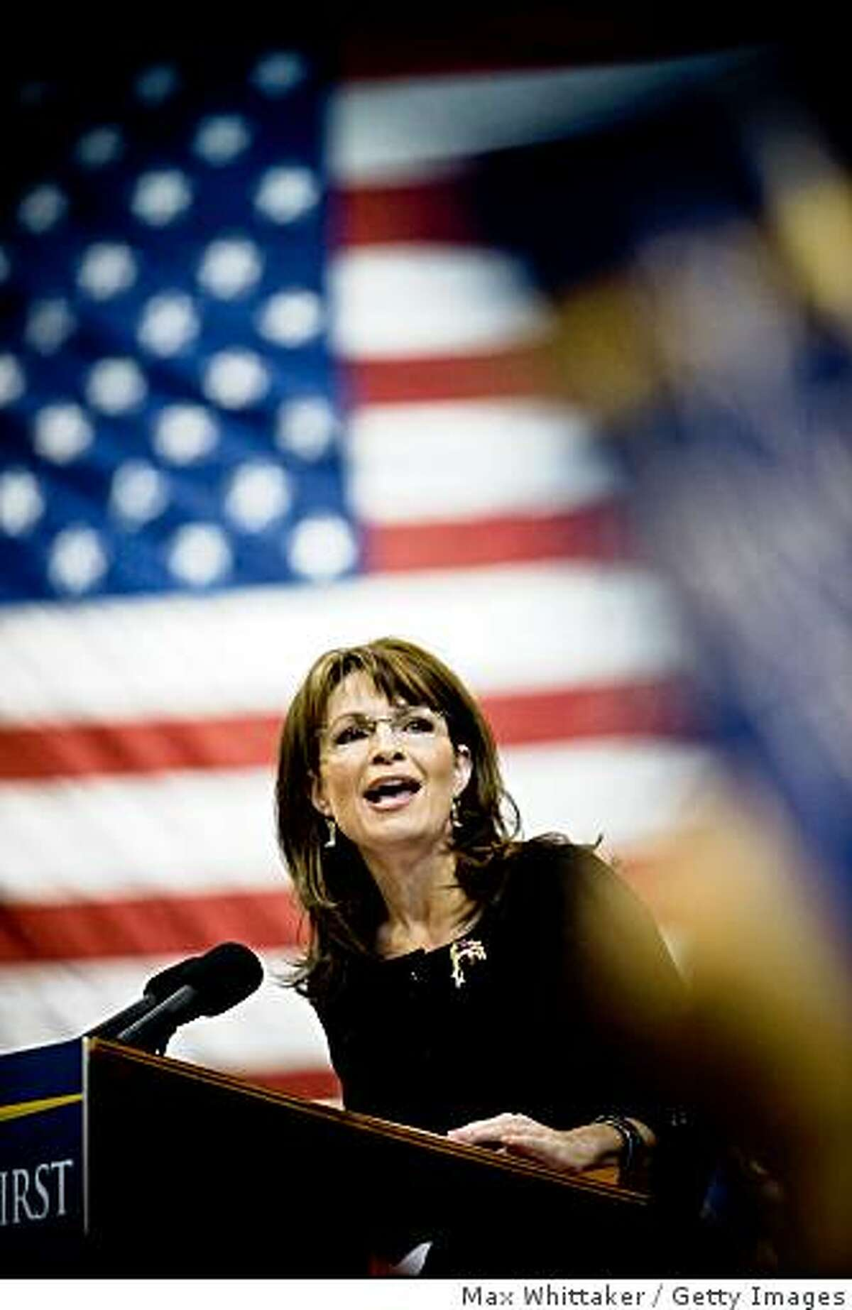 Republican vice presidential candidate Alaska Governor Sarah Palin speaks at a rally October 21, 2008 in Reno, Nevada.
