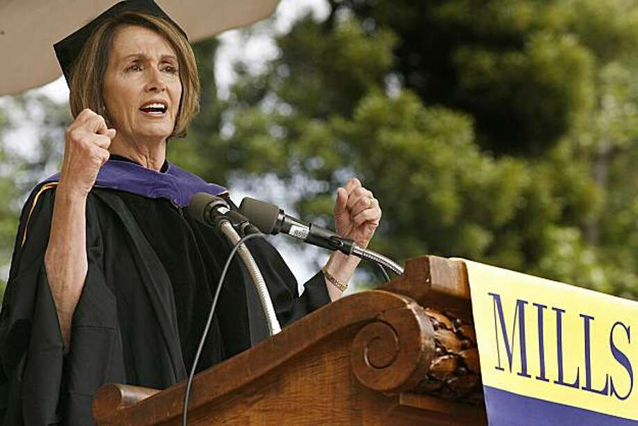 House Speaker Nancy Pelosi speaks during commencement exercises at Mills College in Oakland on Saturday. Photo: Tony Avelar, AP
