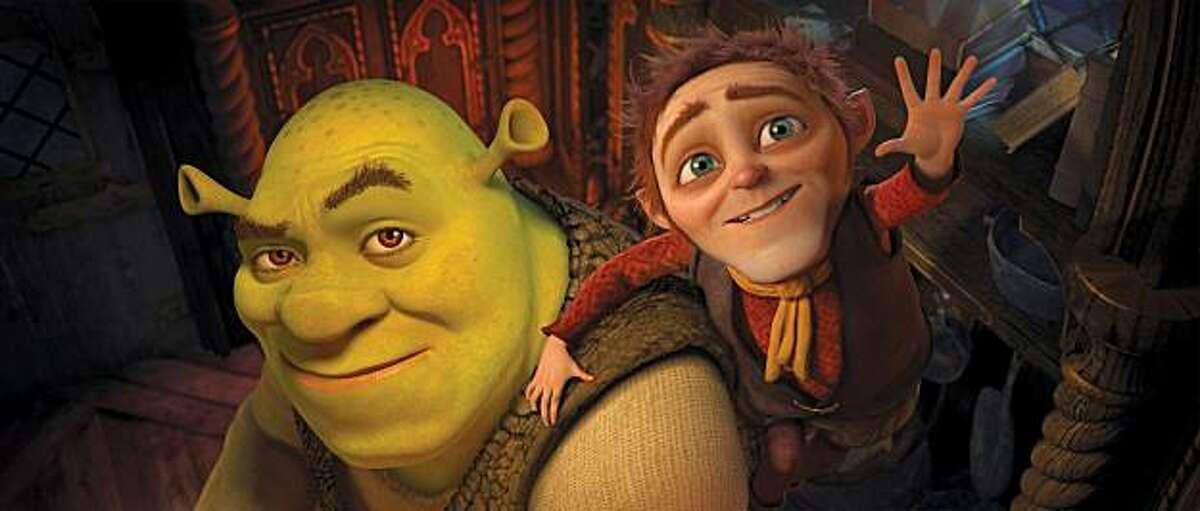 "Shrek (voice of Mike Myers) and Rumpelstiltskin (right, WALT DOHRN) in ""Shrek Forever After: The Final Chapter."""