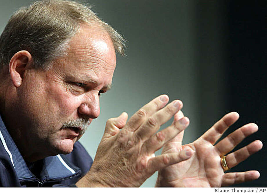 Seattle Seahawks coach Mike Holmgren speaks during a news conference Wednesday, Oct. 22, 2008, in Renton, Wash. Photo: Elaine Thompson, AP