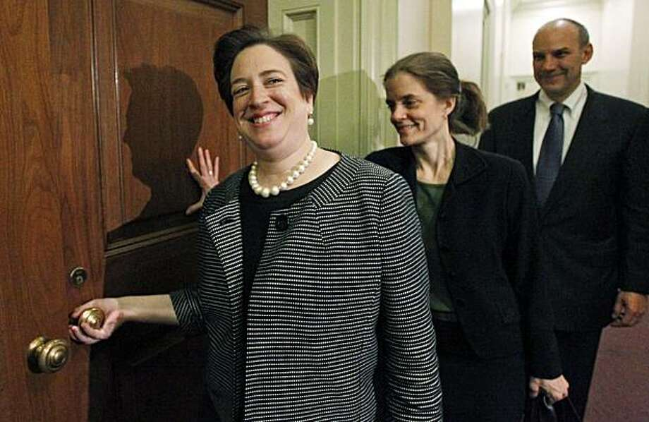 ** CORRECTS SPECTER'S PARTY AFFILIATION TO DEMOCRAT ** Supreme Court nominee Solicitor General Elena Kagan, left, walks in for her meeting with Sen. Arlen Specter, D-Pa., on Capitol Hill in Washington Thursday, May 13, 2010. Photo: Alex Brandon, AP