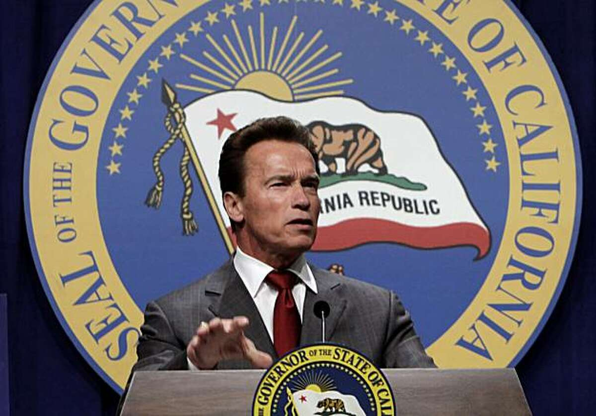 Gov. Arnold Schwarzenegger gestures as he responds to a question about his revised state spending plan he released at a news conference in Sacramento, Calif., Friday, May 14, 2010. Schwarzenegger's proposal called for eliminating California's welfare-to-work program to close a $19 billion budget deficit in the coming fiscal year.