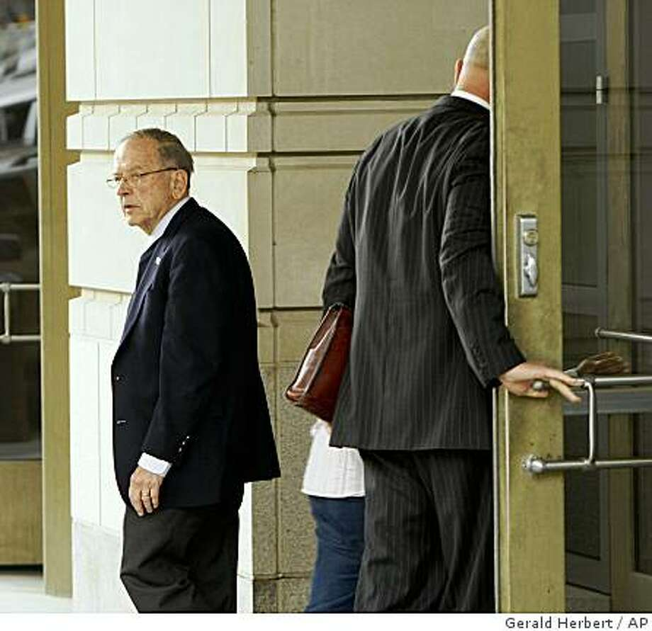 Sen. Ted Stevens, R-Alaska, leaves Federal Court in Washington, Friday, Oct. 24, 2008, after the judge has ordered a one- to two-day halt in deliberations to accommodate a juror whose father died. (AP Photo/Gerald Herbert) Photo: Gerald Herbert, AP