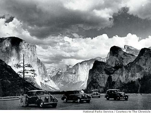 Cars are parked at the Tunnel View Overlook in Yosemite National Park in this August 1939 photo. Photo: National Parks Service, Courtesy To The Chronicle
