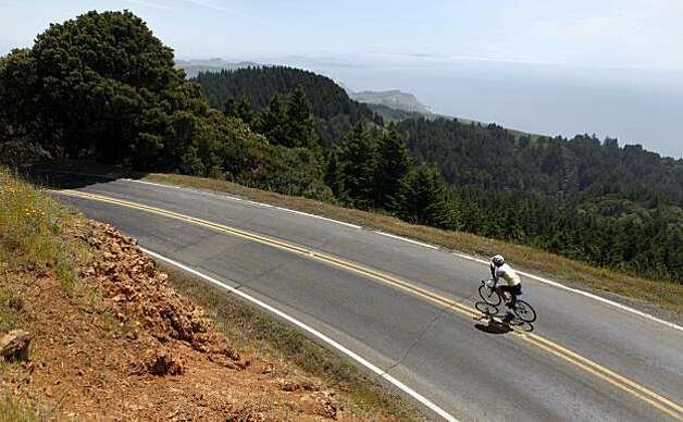A cyclist races down from the summit at Mount Tamalpais State Park Wednesday, May 12, 2010. Photo: Lance Iversen, The Chronicle