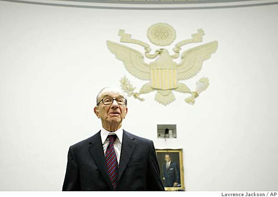 Former Federal Reserve Chairman Alan Greenspan arrives on Capitol Hill in Washington, Thursday,Oct. 23, 2008, to testify before the House Oversight and Government Reform Committee.(AP Photo/Lawrence Jackson) Photo: Lawrence Jackson, AP