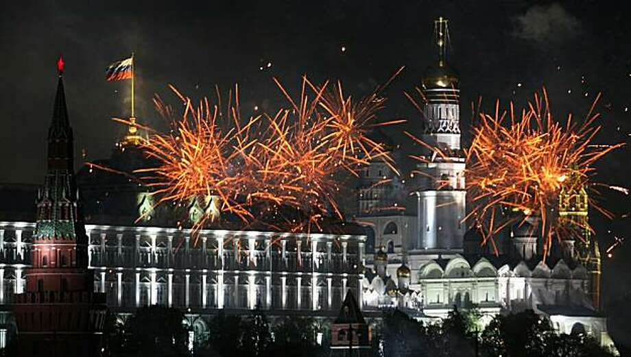 Fireworks go off above the Kremlin during Victory Day celebrations in Moscow on May 9, 2010. Troops from four NATO states marched through Red Square for the first time as Russia marked victory in World War II with its biggest military parade since the collapse of the Soviet Union. Photo: Alexander Nemenov, AFP/Getty Images