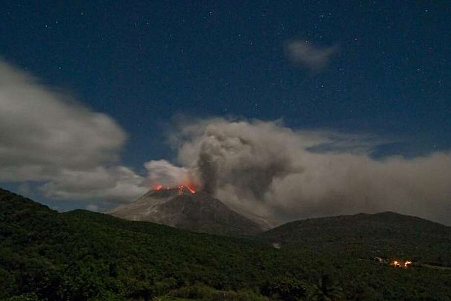 Nighttime activity at the Soufriere Hills volcano on Montserrat, from the MVO, in late January 2010 Photo: David Swanson, Special To The Chronicle