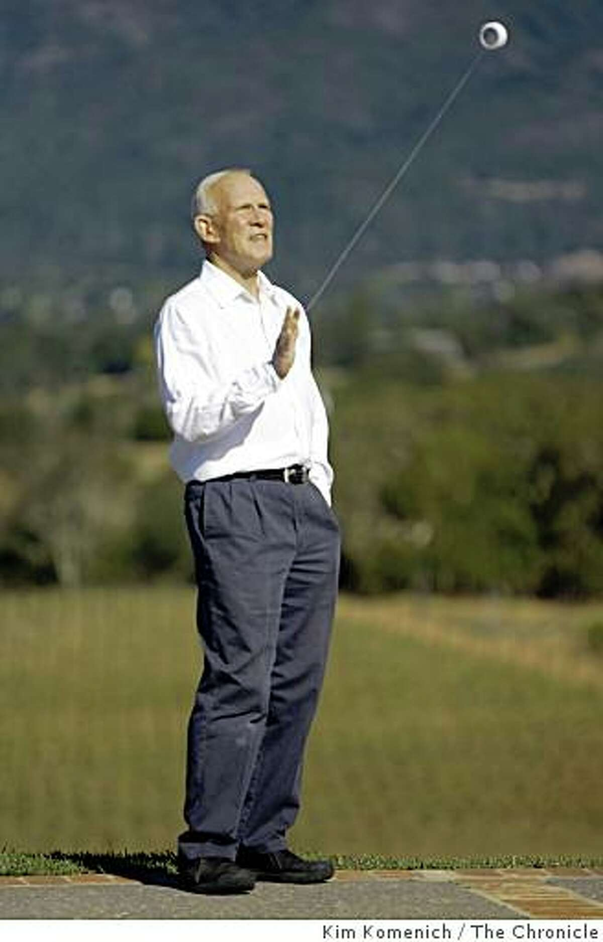 Comedian Tommy Smothers practices his yo-yo skills. He is photographed on Friday, Oct. 10, 2008 at his Kenwood, Calif., home.