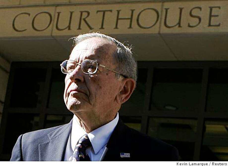 """Alaska Republican Senator Ted Stevens departs the U.S. District Court in Washington October 22, 2008.  Stevens took many expensive gifts and tried to avoid publicly disclosing them, prosecutors said on Tuesday, but the Alaska Republican's lawyer declared him an """"innocent man"""" in a corruption case that may decide his political future and the Senate's makeup. REUTERS/Kevin Lamarque   (UNITED STATES) Photo: Kevin Lamarque, Reuters"""