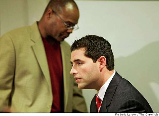 Jed York (right) and Mike Singletary during a press conference that named Mike Singletary (left) the head coach of the San Francisco 49ers for the reminder of the season. Photo: Frederic Larson, The Chronicle