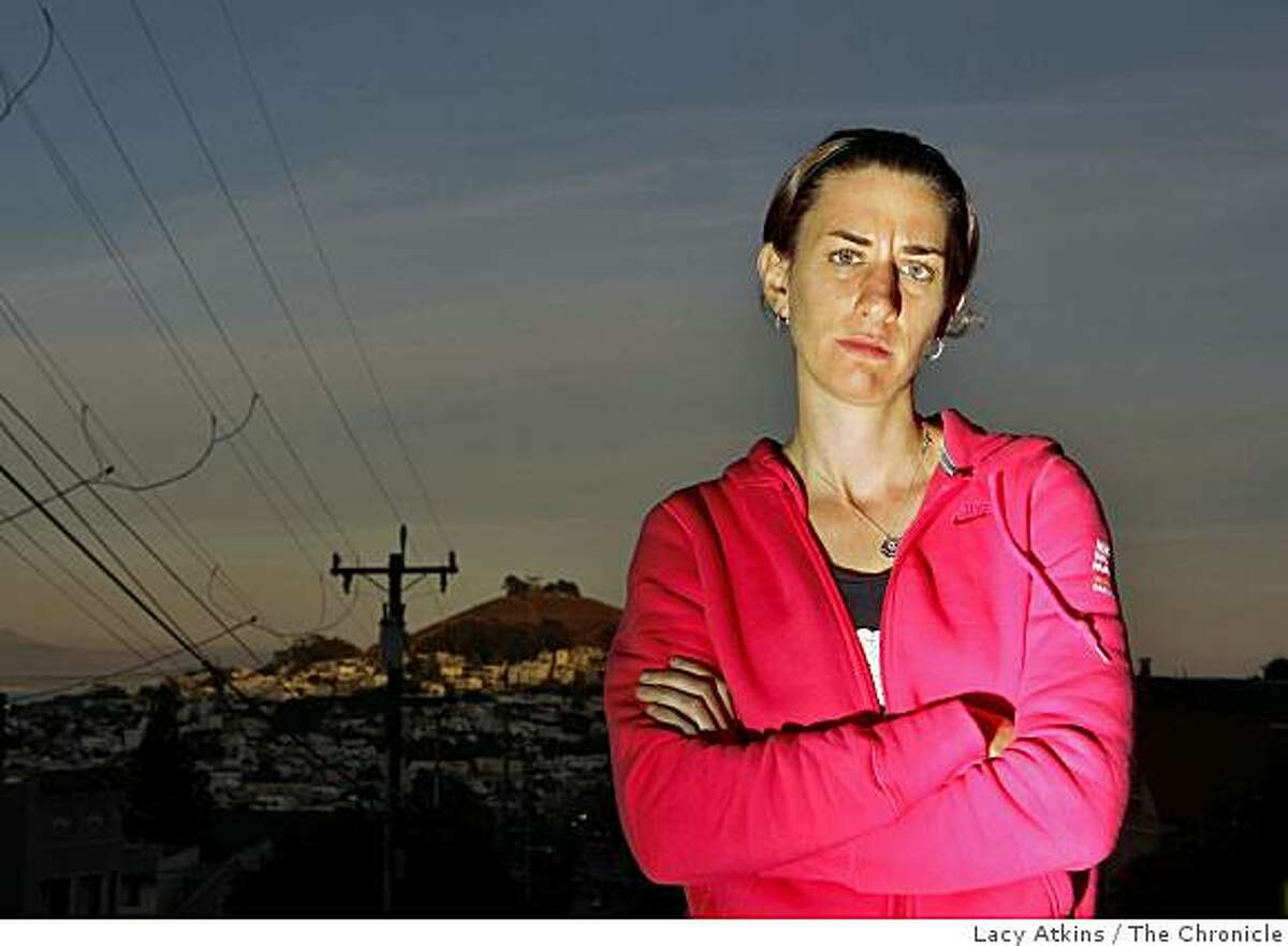 Arien O'Connell, 24 years old, poses for a photograph, Monday Oct. 20, 2008, in San Francisco, Calif. She ran the Nike Women's Marathon with the fastest time of 2:55:11 but didn't win because she wasn't listed with the Elite runners.