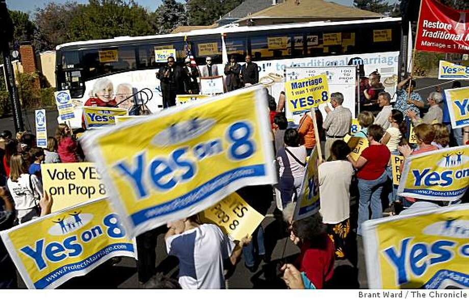 African American ministers from the Bay Area stood in front of the Yes on Proposition 8 bus at Foothill Missionary Baptist Church in Oakland Tuesday October 21, 2008. Photo: Brant Ward, The Chronicle