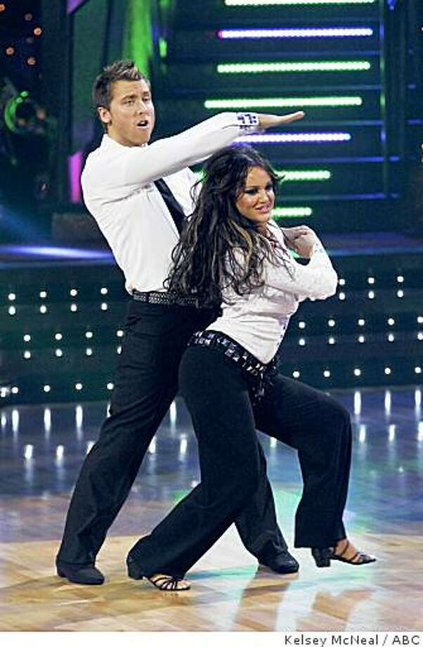 """In this image released by ABC, Lance Bass and his partner Lacey Schwimmer perform on """"Dancing With The Stars,"""" on Monday, Oct. 20, 2008. Photo: Kelsey McNeal, ABC"""