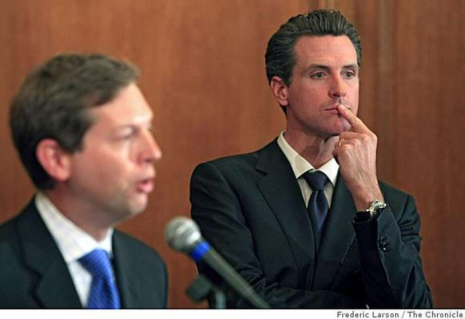 Mayor Gavin Newsom listens to his chief economic advisor, Ted Egan (left) during a press conference at San Francisco City Hall on Monday, October 20, 2008 to talk about the economic conditions facing the city. Photo: Frederic Larson, The Chronicle