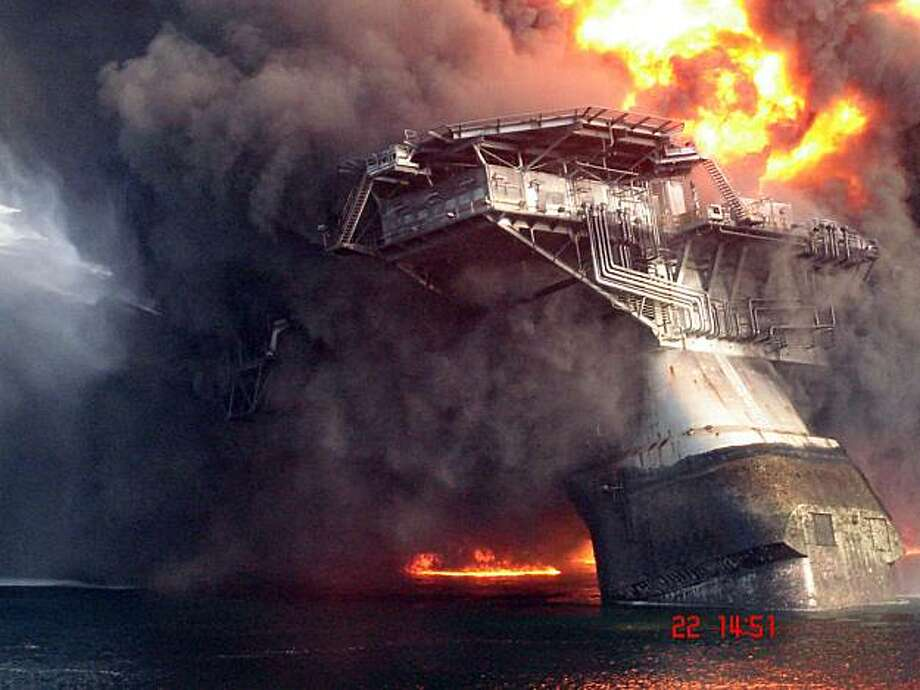 **CORRECTS DATE OF PHOTO TO APRIL 22** This April 22, 2010, photo shows the Deepwater Horizon oil platform leaning on it's side before sinking into the Gulf of Mexico. Photo: Anonymous, AP