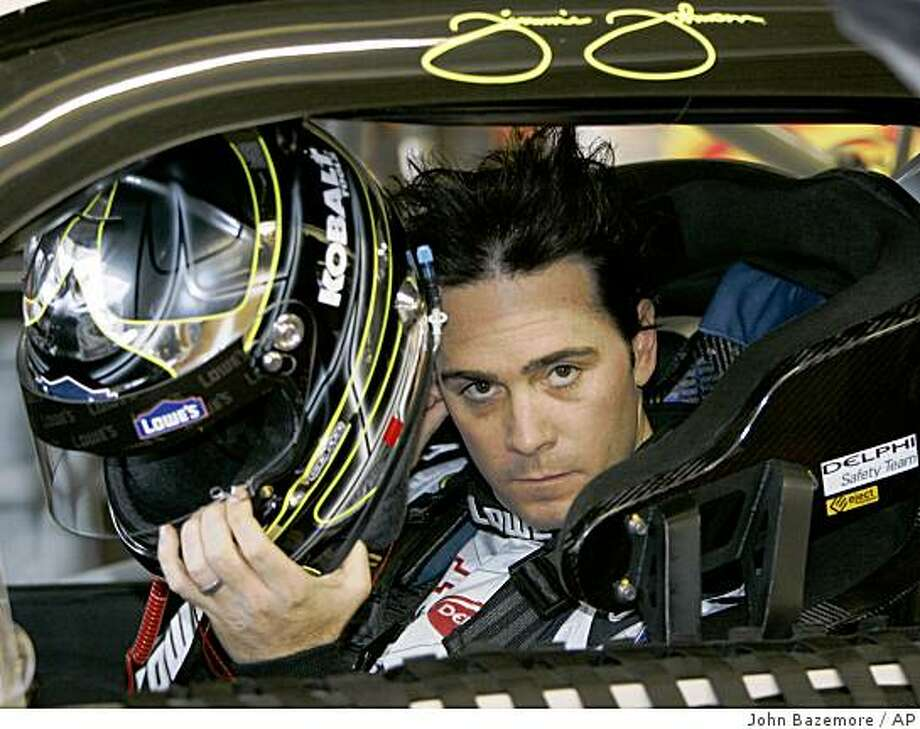 Jimmie Johnson gets set for a practice session for Sunday's Pep Boys  Auto 500 Atlanta Motor Speedway in Hampton, Ga., Friday, Oct. 24, 2008. Johnson won the pole. Photo: John Bazemore, AP