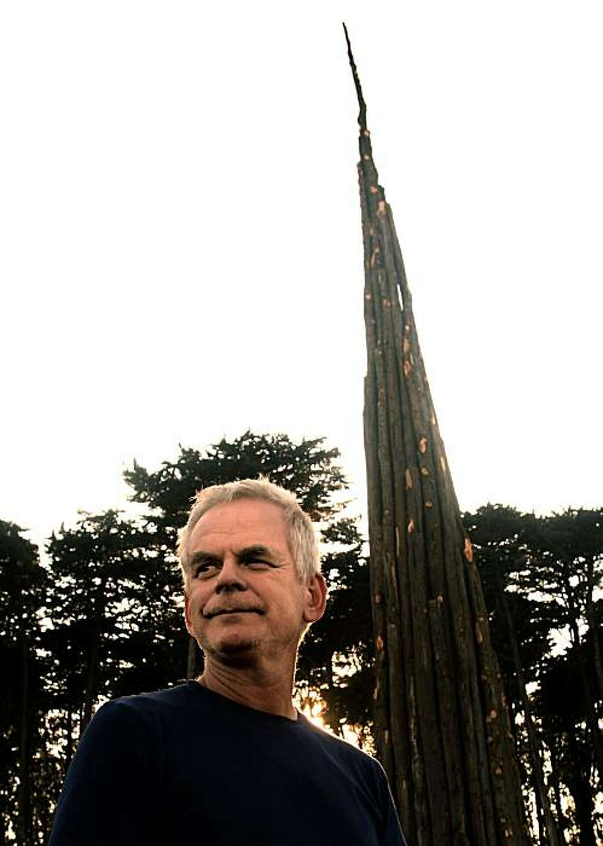 Andy Goldsworthy who's made a public sculpture from Monterey Cypress in the Presidio in San Francisco, Calif., ion Friday, October 17, 2008.