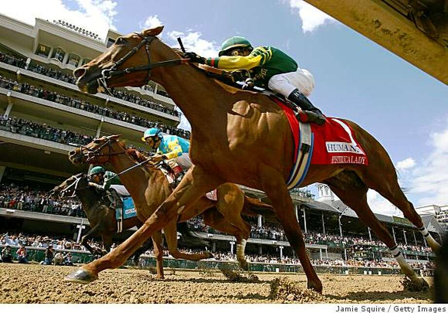 LOUISVILLE, KY - MAY 03:  (L-R) Alonso Quinonez, riding #9 Intangaroo, edges out John Velazquez, riding #8 Baroness Thatcher and Rafael Bejarano, riding #1 Hystericalady to win the 22nd running of The Humana Distaff (#8 race) prior to the 134th running of the Kentucky Derby on May 3, 2008 at Churchill Downs in Louisville, Kentucky.  (Photo by Jamie Squire/Getty Images) Photo: Jamie Squire, Getty Images