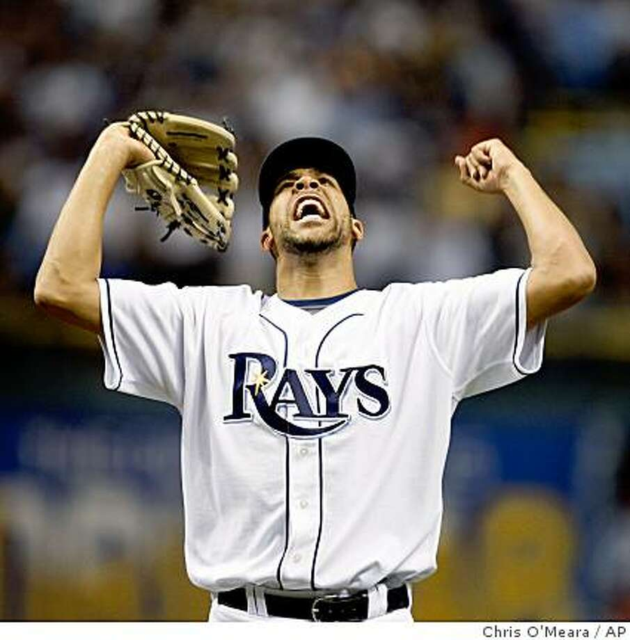 Closer Tampa Bay Rays pitcher David Price reacts after defeating the Boston Red Sox 3-1 to win the American League baseball championship series in Game 7 in St. Petersburg, Fla., Sunday, Oct. 19, 2008. (AP Photo/Chris O'Meara) Photo: Chris O'Meara, AP