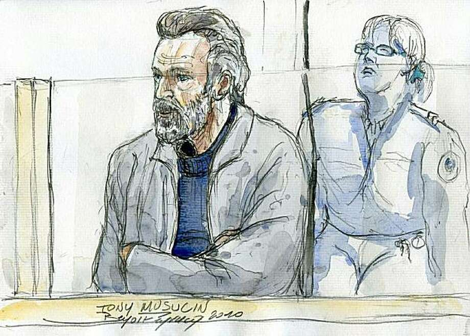 This court sketch made on May 11, 2010 shows French armored bank van driver Toni Musulin at the courthouse of Lyon, central France, on the first day of his trial. Musulin became an Internet hero after he abandoned his van and made off with a cash deliveryof 11.6 million euros (17.2 million dollars) in November 5, 2009, before turning himself in to police. Photo: Benoit Peyrucq, AFP/Getty Images
