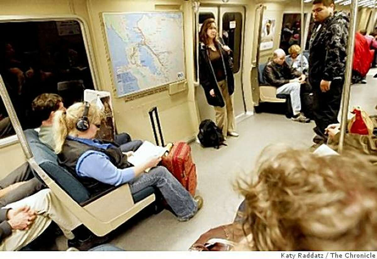 The interior of a BART car