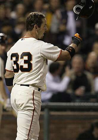 San Francisco Giants' Aaron Rowand throws his helmet after striking out against San Diego Padres' Clayton Richard to end the fifth inning of a baseball game in San Francisco, Wednesday, May 12, 2010. Photo: Jeff Chiu, AP