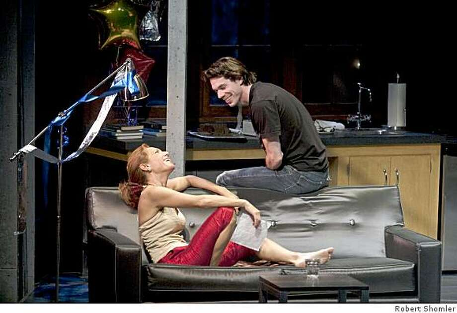 """Chad Deverman (right) as Robbie and Amy Resnick as Leigh in Jamie Pachino's """"Splitting Infinity"""" at San Jose Rep. Photo: Robert Shomler"""