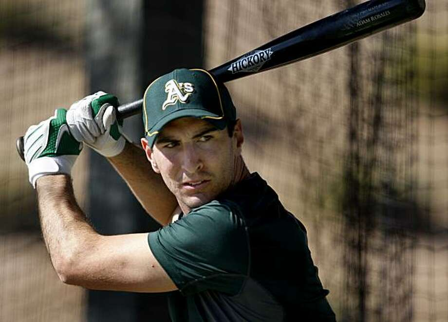Adam Rosales during batting practice at Phoenix Memorial Stadium. Scenes from the Oakland Athletics workouts in late February in Phoenix, Arizona prior to the 2010 season. Photo: Brant Ward, The Chronicle