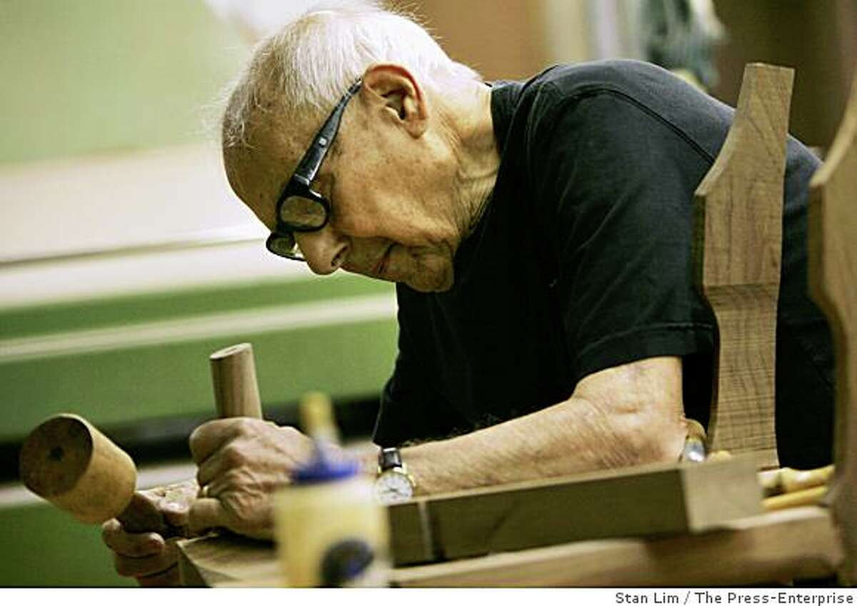 Master woodworker Sam Maloof, of Alta Loma, works on a chair at his shop on January 21, 2008. He is having his first local exhibit in seven years. Maloof's work is in major museums across the country including the Smithsonian.