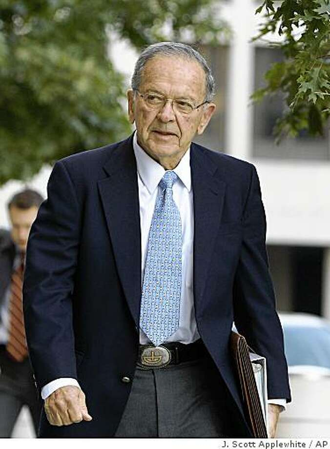 Sen. Ted Stevens, R-Alaska, arrives at the U.S. District Court in Washington, Monday, Oct. 20, 2008, where his trial on corruption charges moves into its closing stages. (AP Photo/J. Scott Applewhite) Photo: J. Scott Applewhite, AP