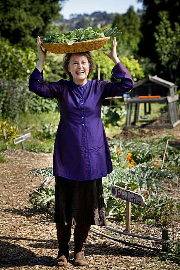 Alice Waters stands in the Edible Garden at Martin Luther King Middle School in Berkeley, Calif. on Friday, April 30, 2010. Photo: Russell Yip, The Chronicle