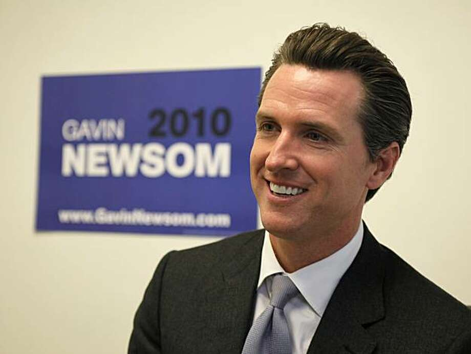 San Francisco Mayor Gavin Newsom meets with the media after announcing that he is running for lieutenant governor, in San Francisco, Friday, March 12, 2010. Photo: Eric Risberg, AP