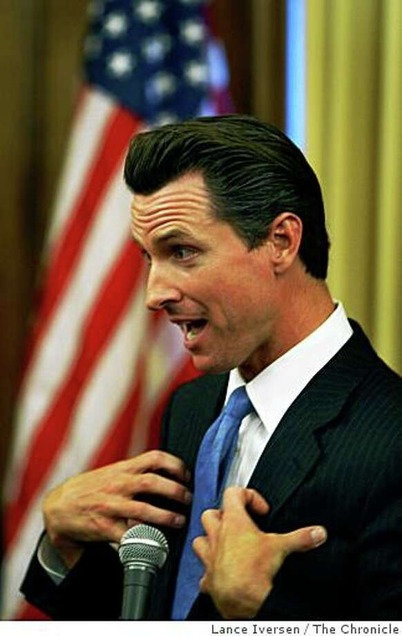 Mayor Gavin Newsom took questions from the media at a press conference in his outer chambers at City Hall on Tuesday July 1, 2008 in San Francisco, Calif. Photo: Lance Iversen, The Chronicle