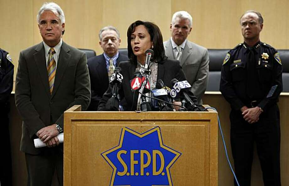 San Francisco District Attorney Kamala Harris addresses the press on Tuesday, March 9, 2010, about an SFPD lab technician that has been arrested on suspicion of stealing drugs seized as evidence in several criminal investigations. Police Chief George Gascon, left, joined Harris and other law enforcement brass to address how the thefts might jeopardize a number of cases in which the evidence no longer exists. Photo: Carlos Avila Gonzalez, The Chronicle