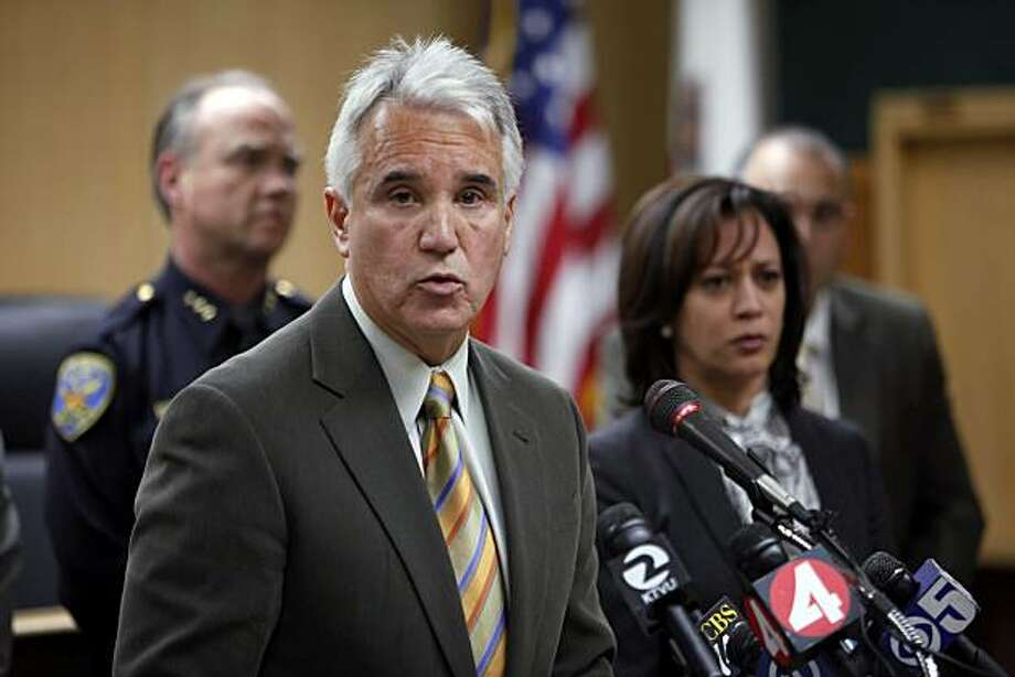 San Francisco Police Chief George Gascon addresses the press on Tuesday, March 9, 2010, about an SFPD lab technician that has been arrested on suspicion of stealing drugs seized as evidence in several criminal investigations.  The chief, flanked by SF District Attorney Kamala Harris and other law enforcement brass, spoke about the thefts jeopardizing a number of cases in which the evidence no longer exists. Photo: Carlos Avila Gonzalez, The Chronicle
