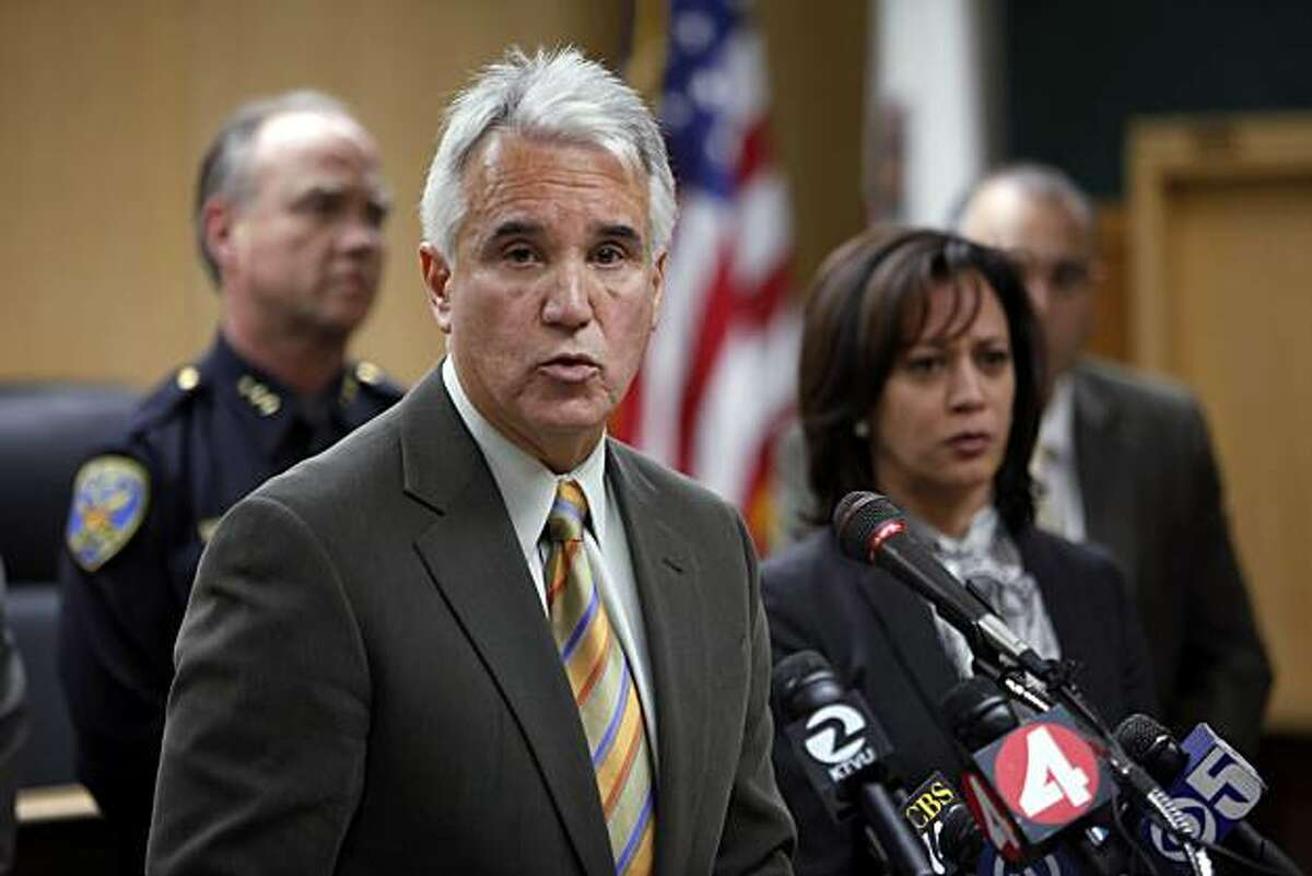 San Francisco Police Chief George Gascon addresses the press on Tuesday, March 9, 2010, about an SFPD lab technician that has been arrested on suspicion of stealing drugs seized as evidence in several criminal investigations. The chief, flanked by SF District Attorney Kamala Harris and other law enforcement brass, spoke about the thefts jeopardizing a number of cases in which the evidence no longer exists.