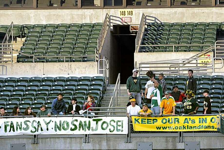 Even in the right field bleachers where the die-hard fans who want to keep the team in Oakland sit, one can see the low numbers of fans. The A's attendance is abysmal as illustrated by the lack of fans at the game against the Texas Rangers. The Oakland Athletics played the Texas Rangers at the Oakland-Alameda County Coliseum in Oakland, Calif., on Monday, May 3, 2010. The Rangers won 4-2. Photo: Carlos Avila Gonzalez, The Chronicle