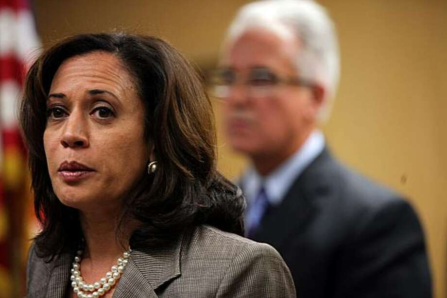 """District Attorney Kamala Harris at a press conference at the Hall of Justice concerning peace officers and the """"Brady Policy"""" in San Francisco, Calif., on Tuesday, May 4, 2010.  With chief George Gascon at right, they explain the """"Brady Policy"""" as protecting a peace officer's personnel records from public disclosure. Photo: Liz Hafalia, The Chronicle"""