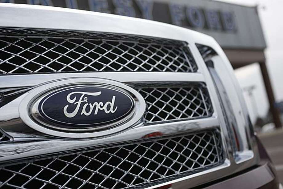 In this file photograph taken in Feb. 28, 2010, in Littleton, Colo., the Ford Co. logo is seen on a 2010 Ford F-150 pickup. Ford Motor Co. said May 3, 2010, April sales rose 25 percent from the same month last year as the auto industry continued tosee signs of recovery. Photo: David Zalubowski, AP