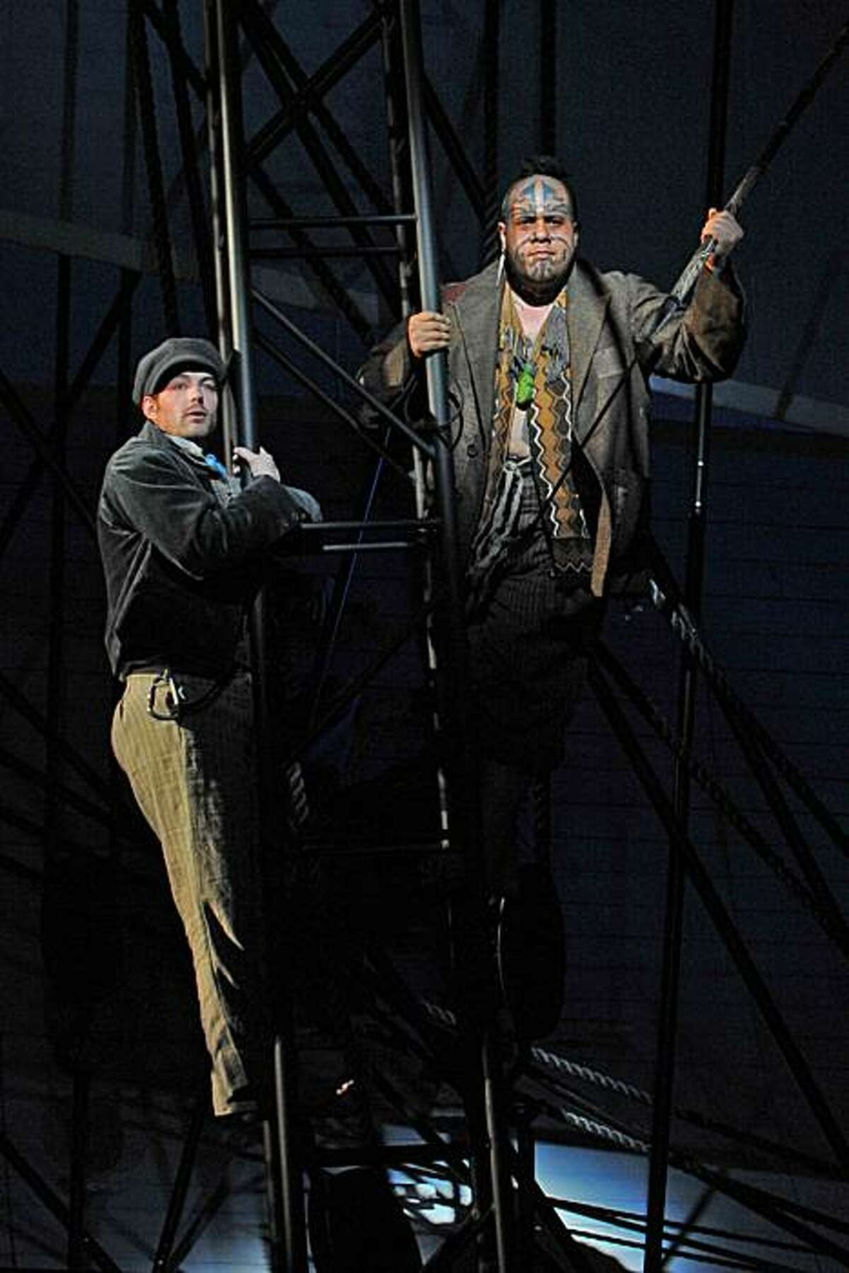 """Stephen Costello (l.) as Greenhorn and Jonathan Lemalu as Queequeg in Jake Heggie's 'Moby-Dick"""" at the Dallas Opera"""