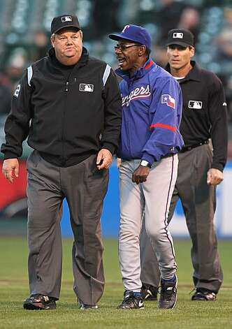 OAKLAND, CA - MAY 3:  Manager Ron Washington of the Texas Rangers is thrown out of the game by umpire Joe West in the second inning against the Oakland Athletics during an MLB game at the Oakland-Alameda County Coliseum on May 3, 2010 in Oakland, California. Photo: Jed Jacobsohn, Getty Images