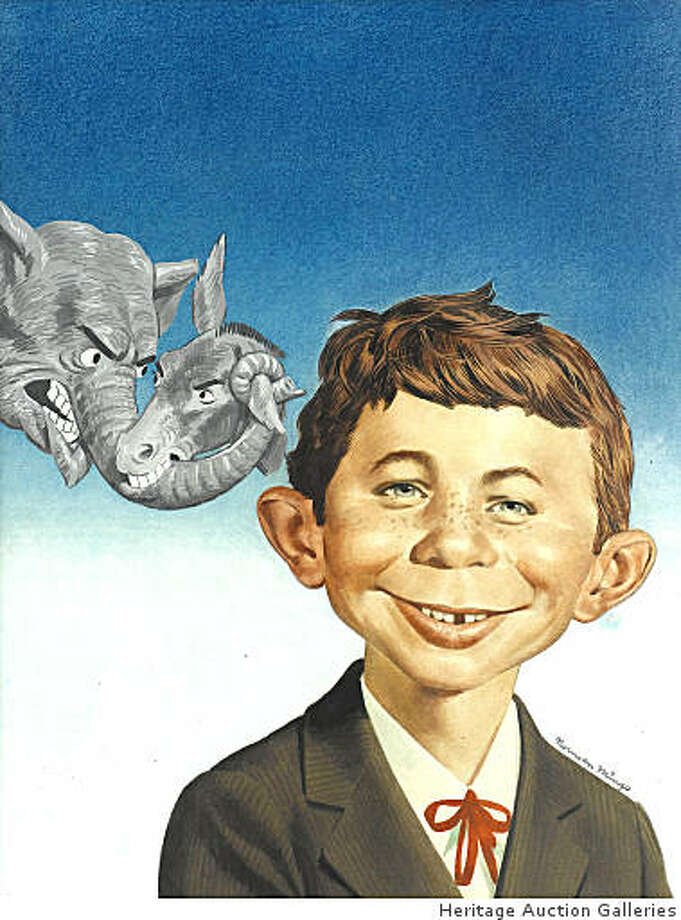 This picture, provided by Heritage Auction Galleries, shows the  in 1956 cover art from MAD Magazine issue #30, featuring the iconic figure of Alfred E. Neuman in an illustration by artist Norman Mingo.  It is one of three dozen original artworks from MAD's archives that will be offered by Heritage Auction Galleries in Dallas, Texas and online, Nov. 14, 2008. Photo: Heritage Auction Galleries