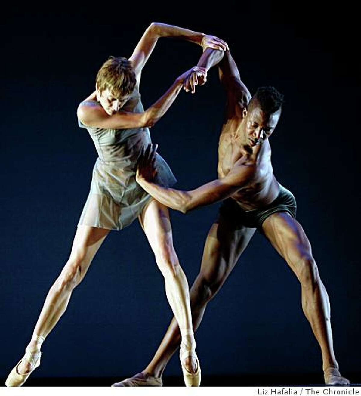 """Muriel Maffre and Corey Scott-Gilbert performing in """"The Steady Articulation of Perserverence"""" in the Lines Ballet in a dress rehearsal of the world premiere in San Francisco, Calif., in Yerba Buena Center on Thursday, October 16, 2008."""