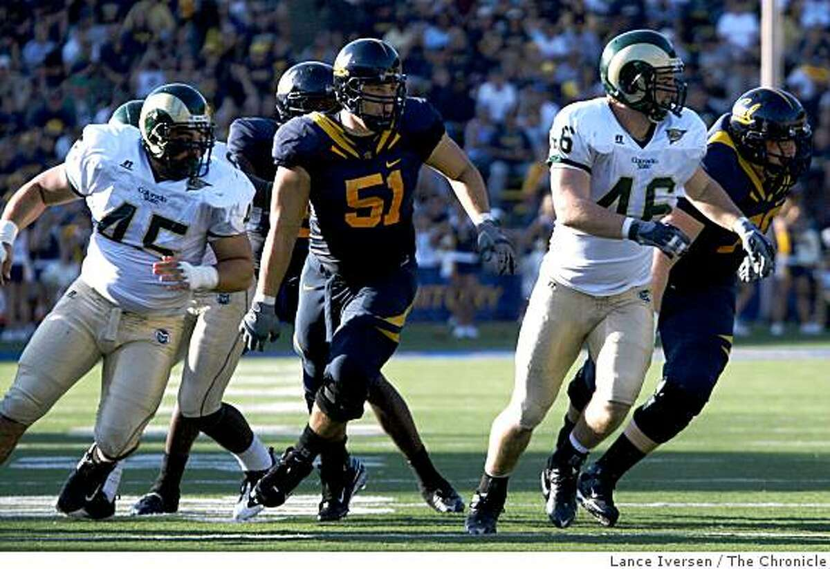 California Golden Bears Alex Mack watches the end of a play in the second half of the game as Cal defeated the Colorado State Rams 42-7 September 27, 2008 in Berkeley Calif.