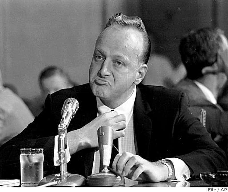 """** FILE ** This Sept. 8, 1961 file photo shows Frank """"Lefty"""" Rosenthal  at a witness table before the Senate Investigations Subcommittee, in Washington during a probe of organized gambling. Frank """"Lefty"""" Rosenthal, the former Las Vegas casino boss who inspired the character Sam """"Ace"""" Rothstein in the movie """"Casino,"""" has died. He was 79. (AP Photo/File) Photo: File, AP"""
