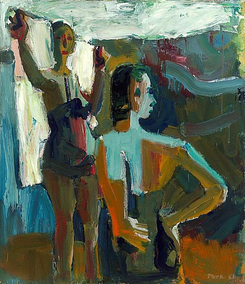 """""""Two Bathers"""" (1958) oil on canvas by David Park  58"""" x 50"""" Photo: Unknown, S. F. Museum Of Modern Art"""
