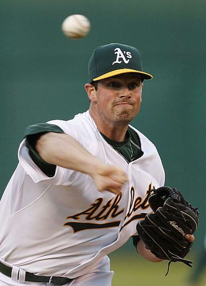 Oakland Athletics' Vin Mazzaro works against the Texas Rangers during the first inning of a baseball game Tuesday, May 4, 2010, in Oakland, Calif. Photo: Ben Margot, AP