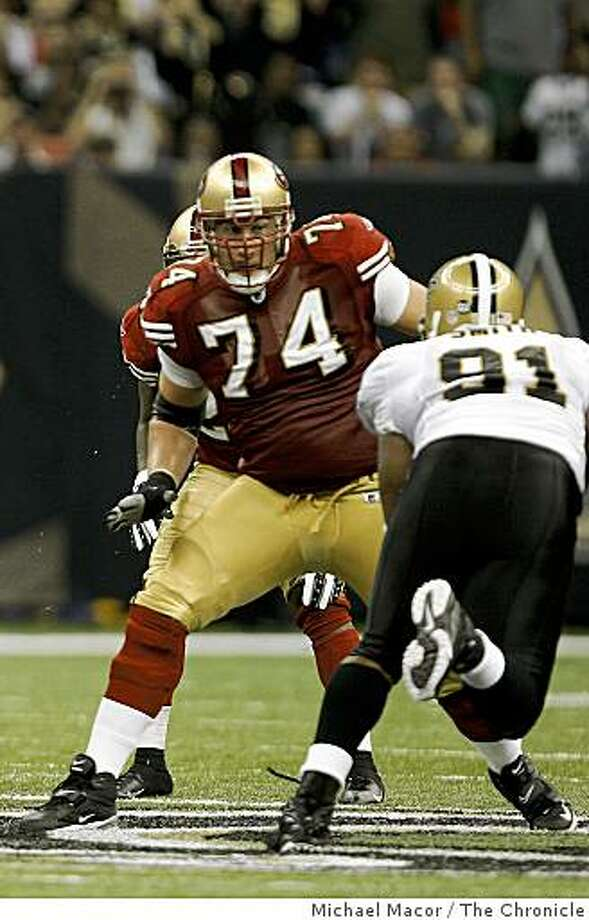 San Francisco 49ers' Joe Staley (74) defends the pass rush of New Orleans Saints defensive end Will Smith (91) in the third quarter of the 31-17 loss at the New Orleans Superdome in new Orleans, La.  on Sunday Sept.28, 2008. Photo: Michael Macor, The Chronicle
