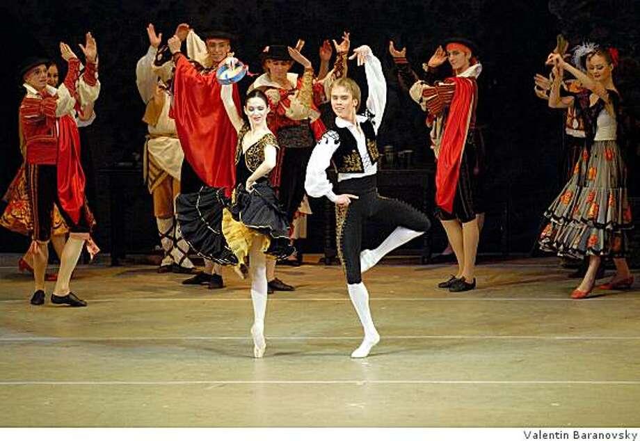 Leonid Sarafanov and Olesia Novikova of the Kirov Ballet perform Don Quixote. The internationally renowned dance company returns to Cal Performances October 14 - 19, 2008 with two distinct programs. Photo: Valentin Baranovsky